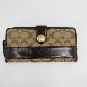 Coach brown leather and fabric wallet